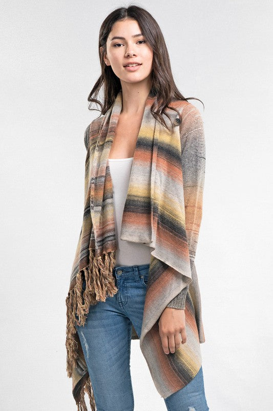Farrah Striped Fringe Cardigan