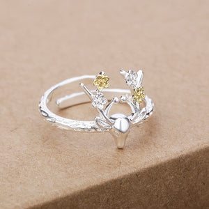 Silver Deer Antler Ring