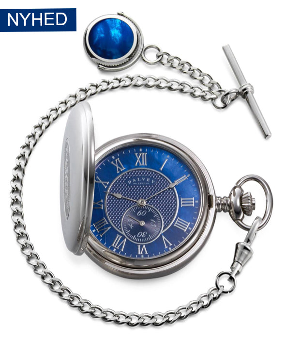 FULL HUNTER POCKET WATCH BLUE MOTHER OF PEARL & ALBERT