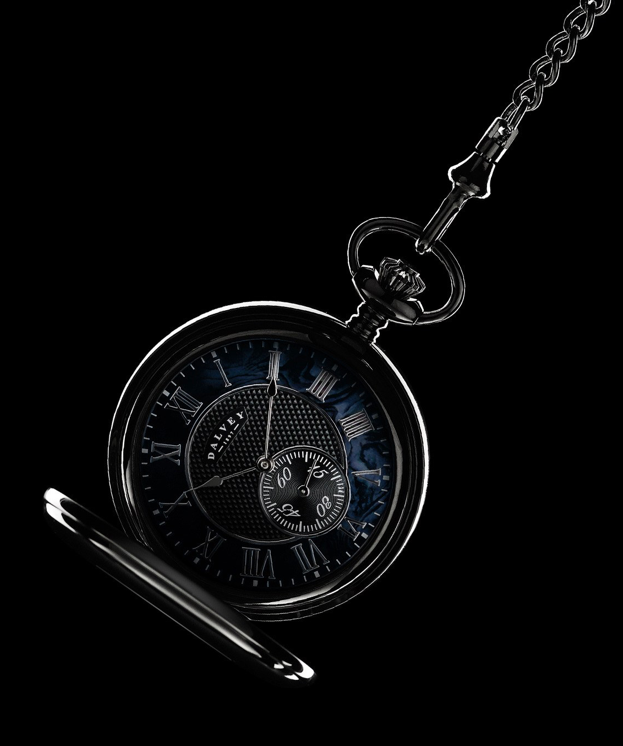 FULL HUNTER POCKET WATCH BLACK MOTHER OF PEARL & ALBERT