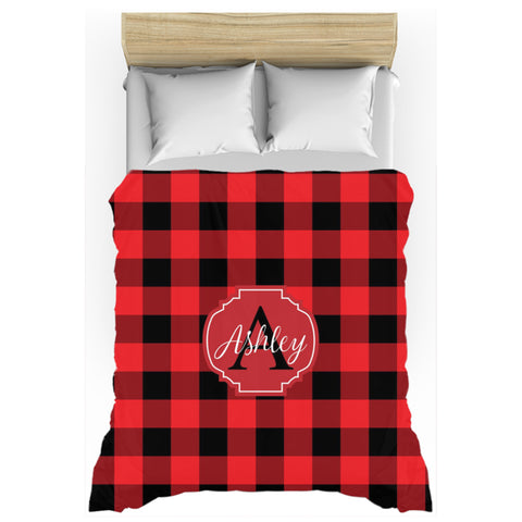 buffalo plaid personalized duvet cover twin queen king