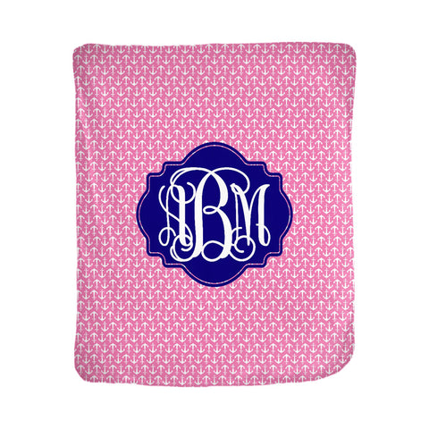 pink anchor monogrammed throw blanket boe boutique