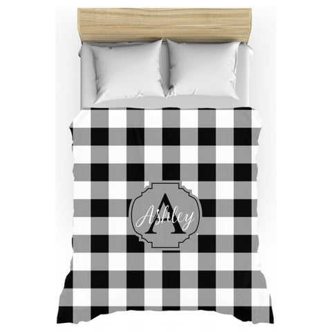 black white buffalo plaid personalized duvet cover twin queen