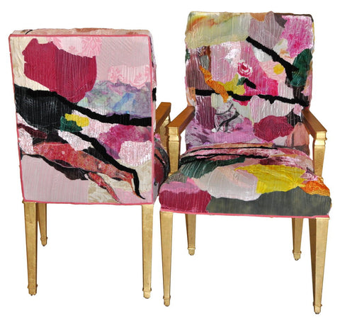 eclectic accent chair upholstered in patchwork fabric by Sara Palacios Designs