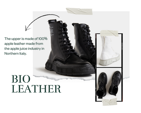 a collage of black and white boots by Viron made of biodegradable apple leather