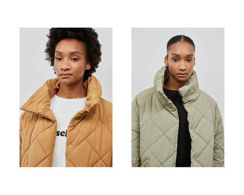 two models wearing unisex vegan down jackets by embassy of bricks and logs