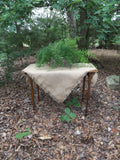 Burlap tablecloth with fringe