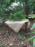 Burlap tablecloth with fringed edges
