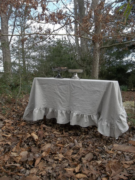 "Ruffled Linen Tablecloth - Handmade Ruffled Tablecloth - Natural Linen Tablecloth -70x70 Table Cloth - French Prairie Tablecloth 70"" Square"