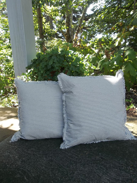 Pair Custom Stripe Ticking Pillows -  Ticking Pillows -  Custom Sixes Fabrics - Nautical Decor -  Porch Decor