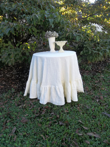 "Floor Length Linen Tablecloth - Ruffled Tablecloth - Ruffled Linen Tablecloth - 90"" Tablecloth - Wedding Decorations"