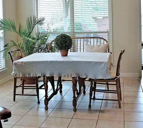 Slipcover Style Linen Tablecloth - Ruffled Tablecloth - Fitted Tablecloth - Table Slipcover - Custom  Linen Tablecloth - French Prairie Style Tablecloth