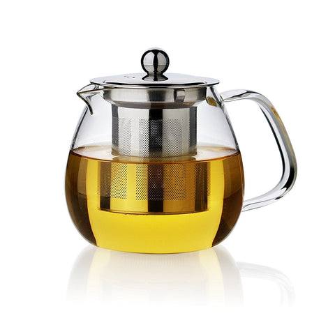 TEAliSe 800ml Clear Heat Resistant Glass Teapot & Stainless steel Infuser Tea Maker Teapot Kettle