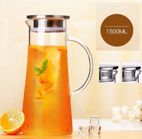 TEAlise High Heat Resistance Teapots Water Pitcher with Stainless Steel Lid for Loose Leaf Tea and Coffee Pot 1500ml