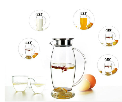 TEAlise Large High Heat Resistance Teapots Water Pitcher with Stainless Steel Lid for Loose Leaf Tea and Coffee Pot 1500ml