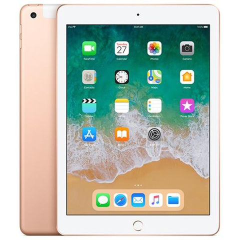 iPad 9.7 (2018 128GB 4G LTE) Gold - Front Back View