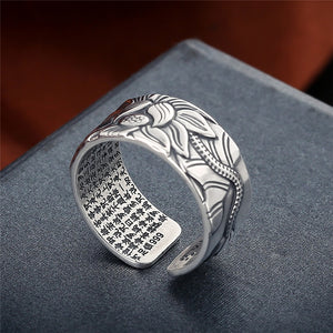 Heart Sutra Thai Sterling Silver Open Rings, Rings - Yemaya Luna