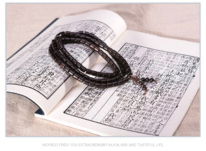 Tibetan Buddhist Meditation Prayer Bead Bracelet Ebony Wood, Bracelet - Yemaya Luna