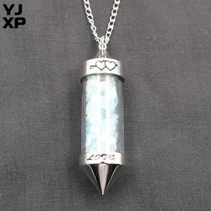 Reiki Crushed Stones Wishing Bottle Pendant, chain - Yemaya Luna