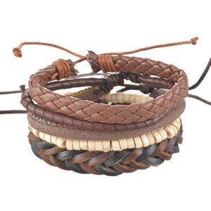 Unisex Braided Adjustable Leather Cuff  Bracelet,  - Yemaya Luna