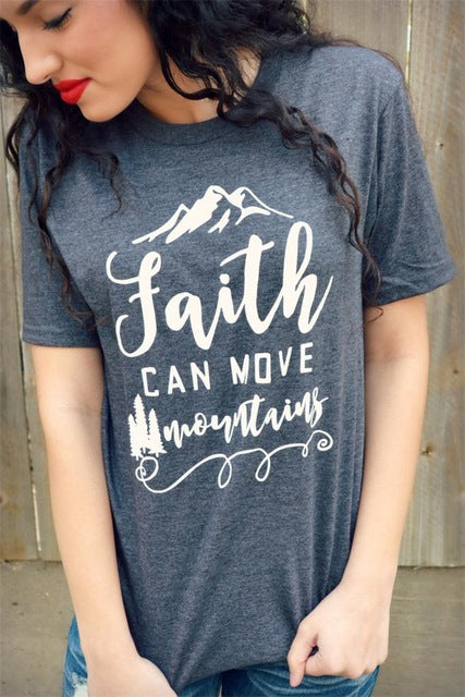 Faith Can Move Mountains Casual Women Short Sleeve T Shirts, shirt - Yemaya Luna