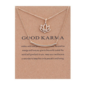 Good Karma Marble Lotus Double Layer Pendant Short Necklace, chains - Yemaya Luna