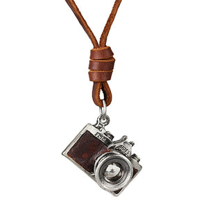 Camera Pendant Genuine Leather Necklace, chain - Yemaya Luna