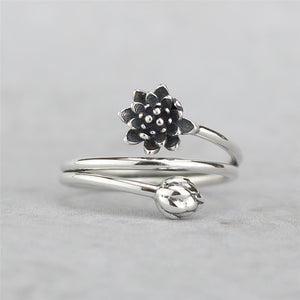 Winding Lotus Flower Sterling Silver Ring, Rings - Yemaya Luna