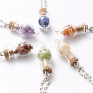 Crystal Gravel Natural Stone Pendant Necklace, chains - Yemaya Luna