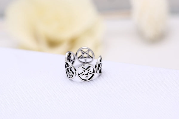 Pentagram Silver Star Ring, rings - Yemaya Luna
