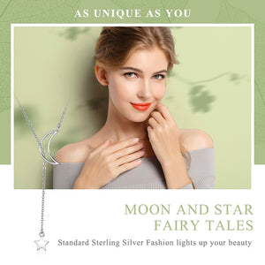 925 Sterling Silver Moon and Star Tales Chain Link Pendant