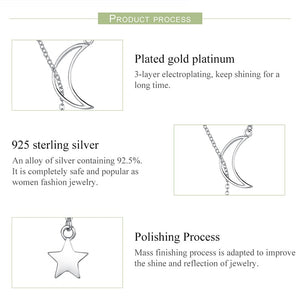 925 Sterling Silver Moon and Star Tales Chain Link Pendant, chain - Yemaya Luna