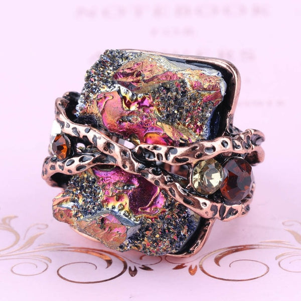 Natural Stone Vintage  Antique Rock Crystal Ring, Rings - Yemaya Luna