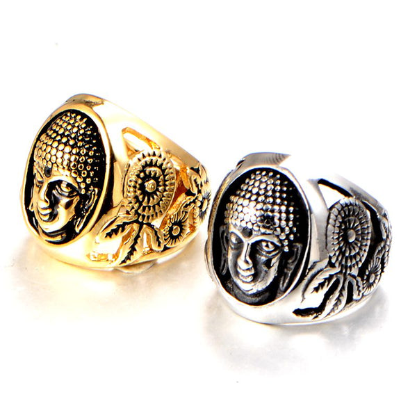 Buddha Head Buddhist Stainless Steel Ring, Rings - Yemaya Luna