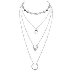 Retro silver color moon star multi layer necklace, chain - Yemaya Luna