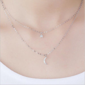925 Sterling Silver Double Layer Necklace, chains - Yemaya Luna