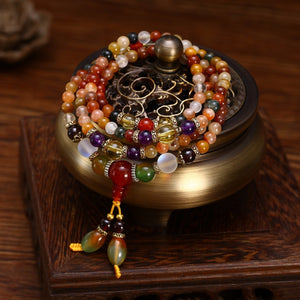 Natural Colorful Crystal Quartz Beads Buddhist Bracelet Mala, Bracelet - Yemaya Luna