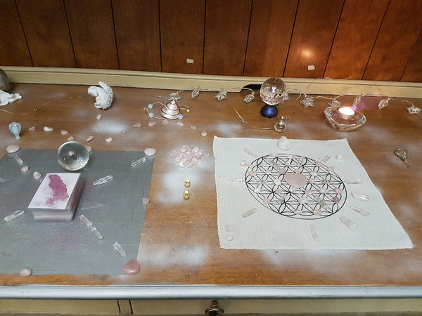 Rose and Clear Quartz Chakra Crystal Healing Grids Kit, Metaphysical - Yemaya Luna