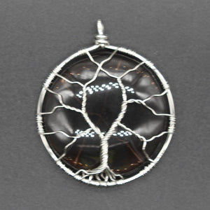 Tree of Life Wire Wrap Elliptical Water Drop Obsidian Charms Pendant, chain - Yemaya Luna
