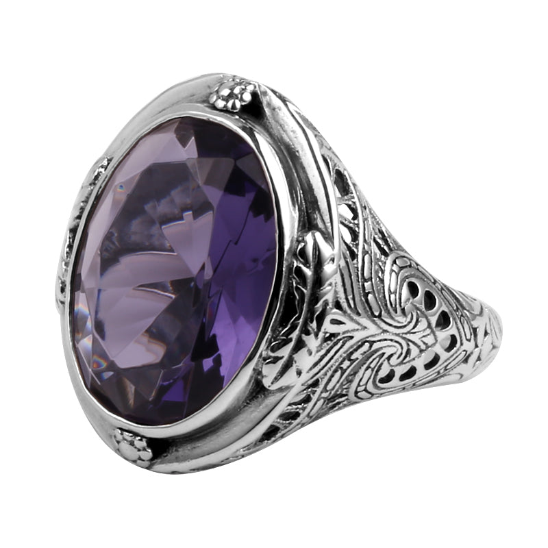 """My Grandmother's"" Vintage Oval Amethyst Sterling Silver Ring, Rings - Yemaya Luna"