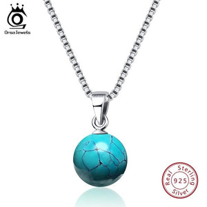 925 Sterling Silver Natural Stone Pendant Necklace, chains - Yemaya Luna