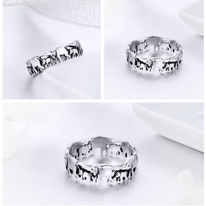 Sterling Silver Stackable Elephant Family Finger Rings, Rings - Yemaya Luna