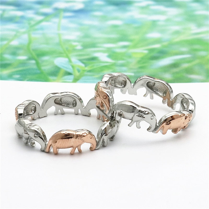 Family of Elephants two tone Ring, Rings - Yemaya Luna