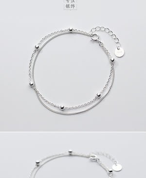 925 Sterling Silver Double Layer Beads Bracelet 16cm, Bracelet - Yemaya Luna