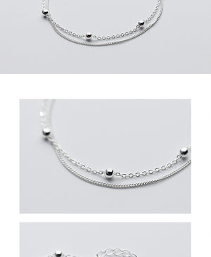 925 Sterling Silver Double Layer Beads Bracelet 16cm