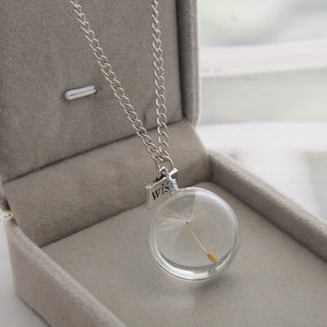 Wish Real Dandelion Crystal Glass Round Pendants Necklace, chains - Yemaya Luna