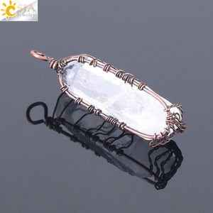 Natural Crystal Pillar  Wrapped Tree of Life Quartz Pendant, chains - Yemaya Luna