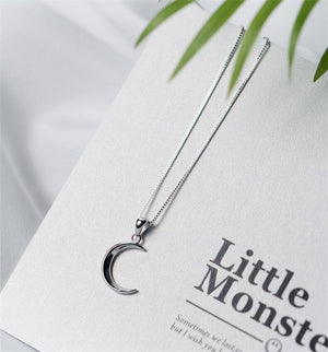 925 sterling silver Crescent Moon clavicle chain