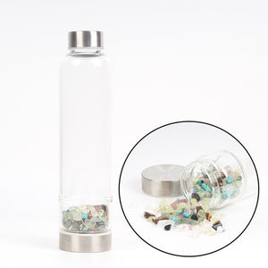 Natural Quartz Crystal Glass Water Bottle, Metaphysical - Yemaya Luna