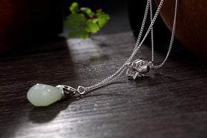 925 Sterling Silver Multi Layers Orchid Flowers Jade Pendants Necklace, chain - Yemaya Luna